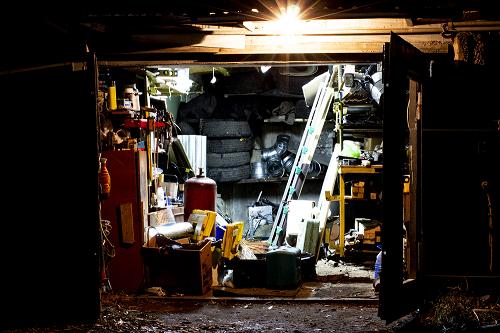 garage filled with old debris