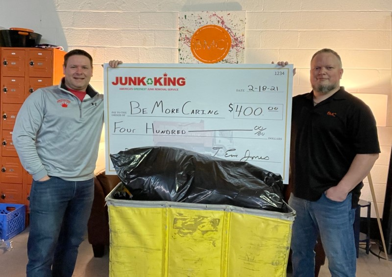 Donating clothes to those less fortunate. Junk King recycles clothing on behalf of it's customers.
