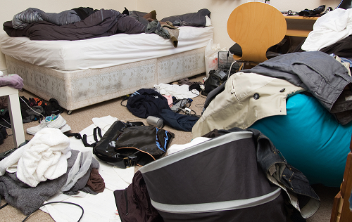 Room filled with debris and cllutter including an old bed and clothing