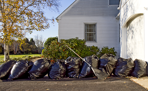 Bags of old debris placed in the backyard