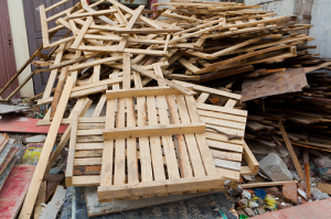 A pile of wooden construction waste material