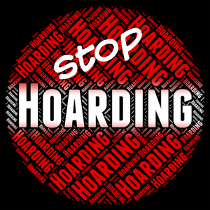 Stop hoarding White red and black sign