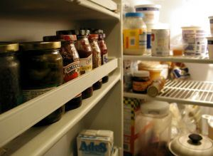 Inside the fridge.