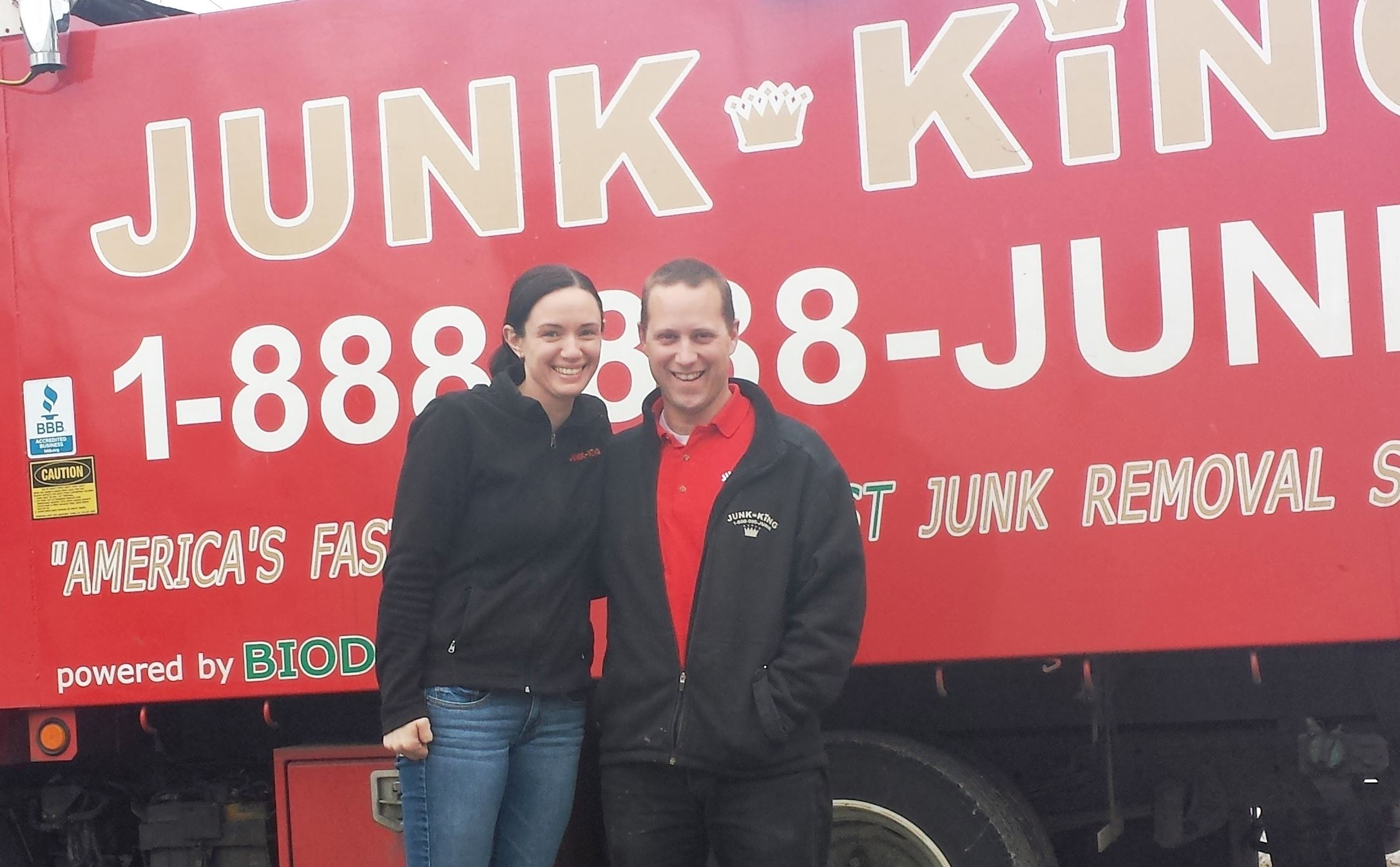 Junk King Franchise Owners,  Scott and Amy Pozerski.