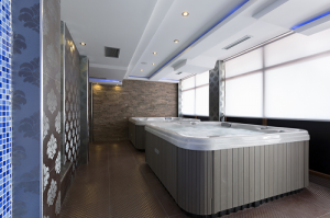2 Hot tubs inside room