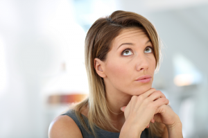Woman with wondering facial expression