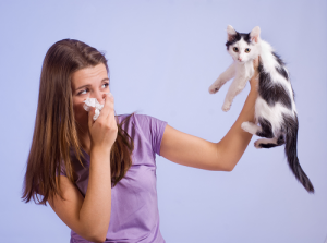 Female holding tissue to face in one hand and a cat held high in the other hand