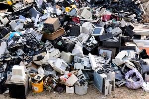 Large pile of ewaste pile at landfill