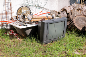 Old TV pile stack
