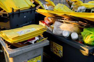 full garbage bins