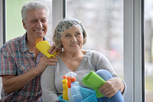 Smiling Senior male and female leaning against window while holding cleaning tools