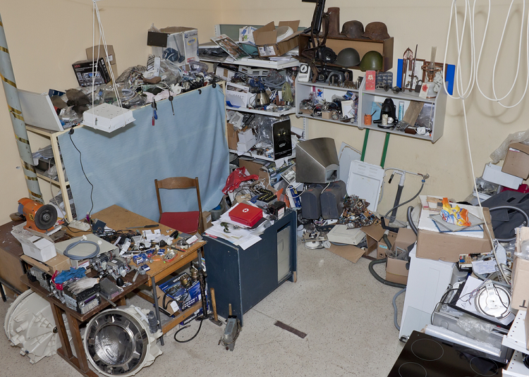 home filled with junk and debris